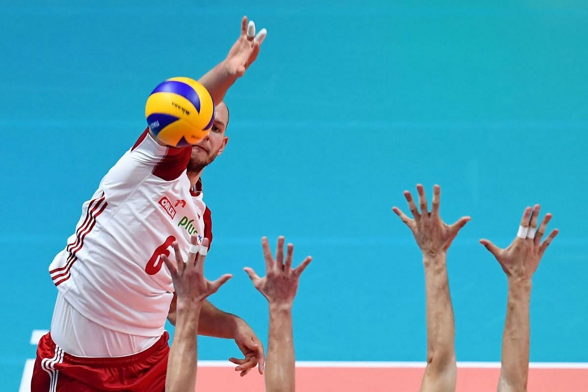 Poland's Bartosz Kurek hits the ball during the men's volleyball Final Six Pool J match Poland vs Serbia of the 2018 Volleyball World Cup on September 27, 2018 in Turin. PHOTO: AFP