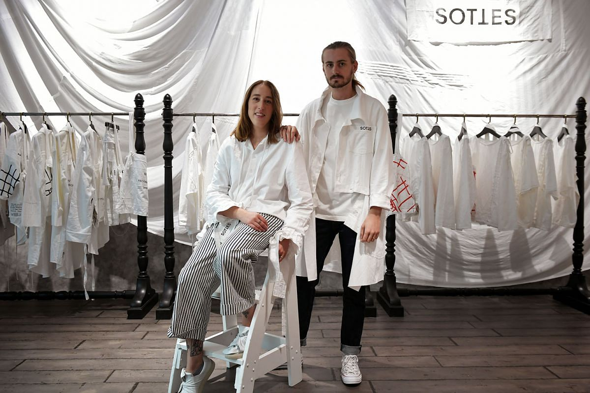 Left: Jeanne Guenat and Elliot Upton are the founders of Swiss-based fashion brand Sottes, which has launched its upcycled, waste-free collection in Singapore at multi-label boutique Surrender.