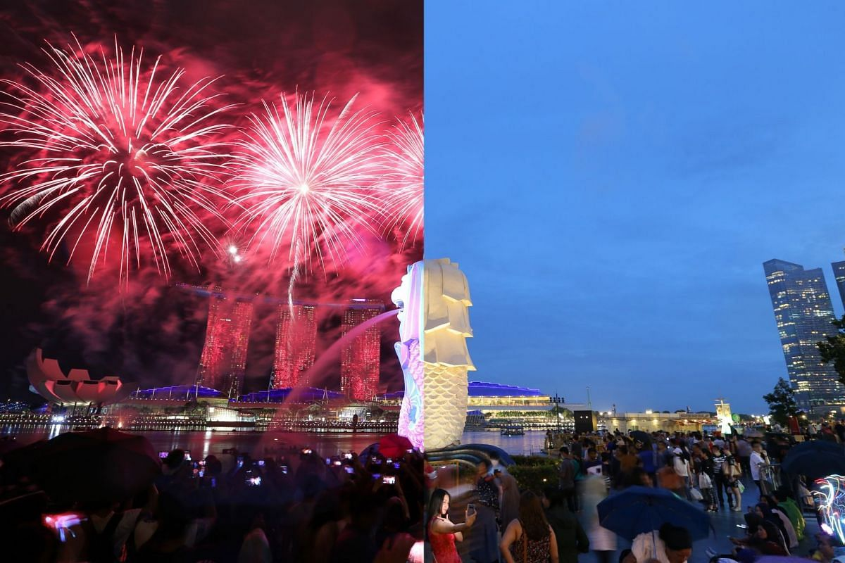 A photo taken at 7.28pm on Dec 31, 2017 (right) shows a woman taking a selfie with Singapore's iconic landmarks – the Merlion and Marina Bay Sands – in the background. At 9.05pm (left), spectators turned their attention to the sky as a firework