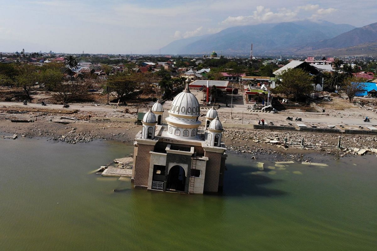 This aerial image shows a damaged mosque in Palu in Indonesia's Central Sulawesi on October 4, 2018, after an earthquake and tsunami hit the area on September 28.