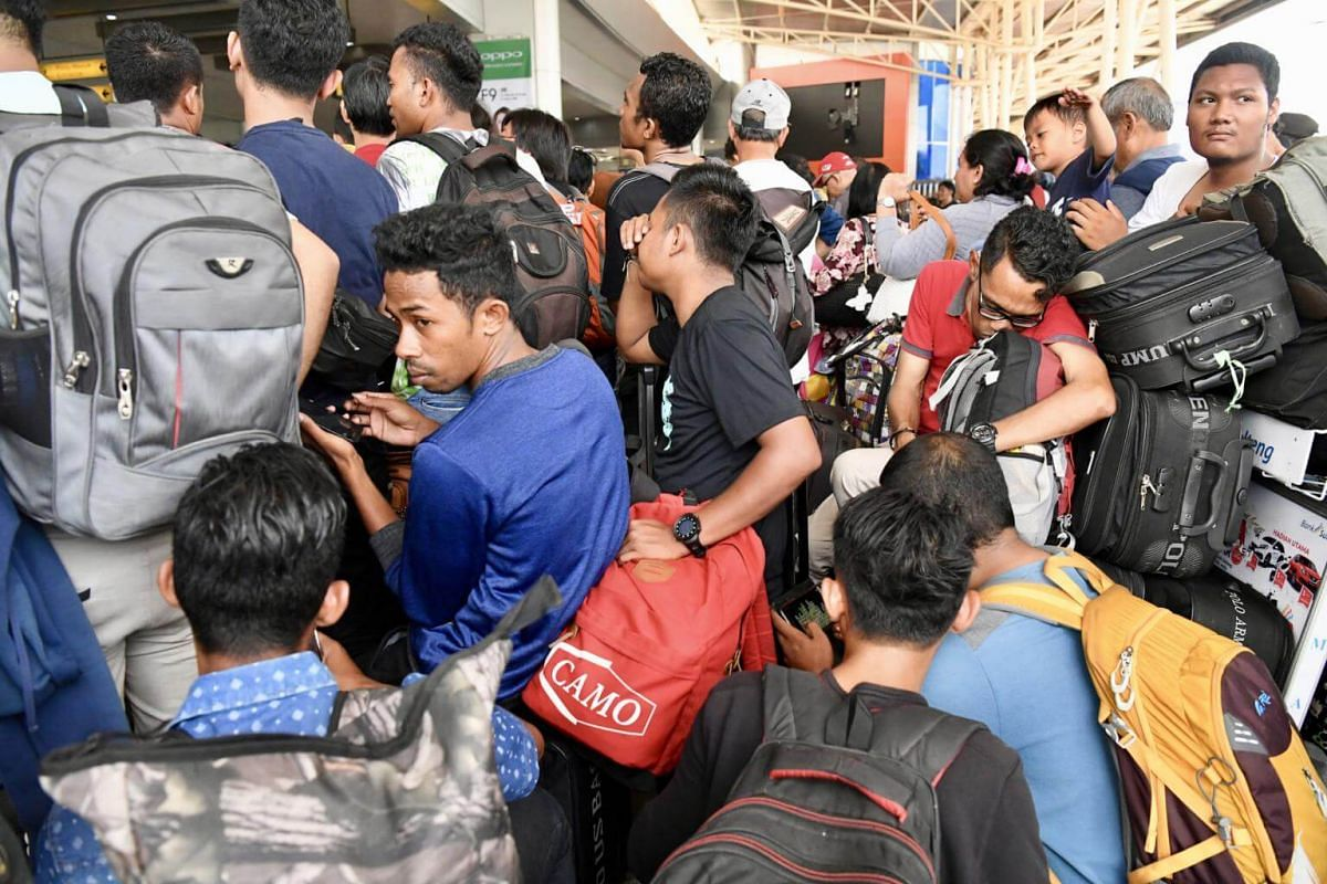 Hundreds of people attempting to leave Palu were stranded at the airport. There was a huge backlog of passengers as only smaller commercial planes were allowed to depart.