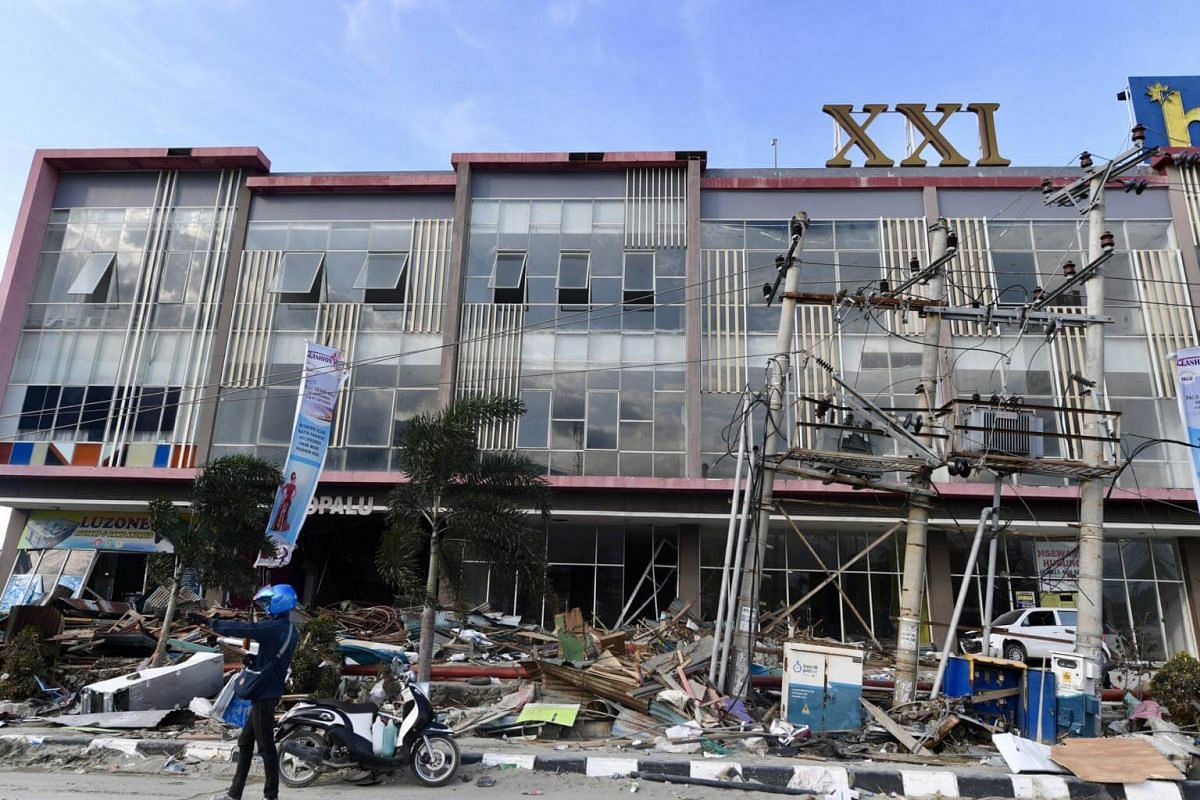 Shops and businesses destroyed in Palu city.