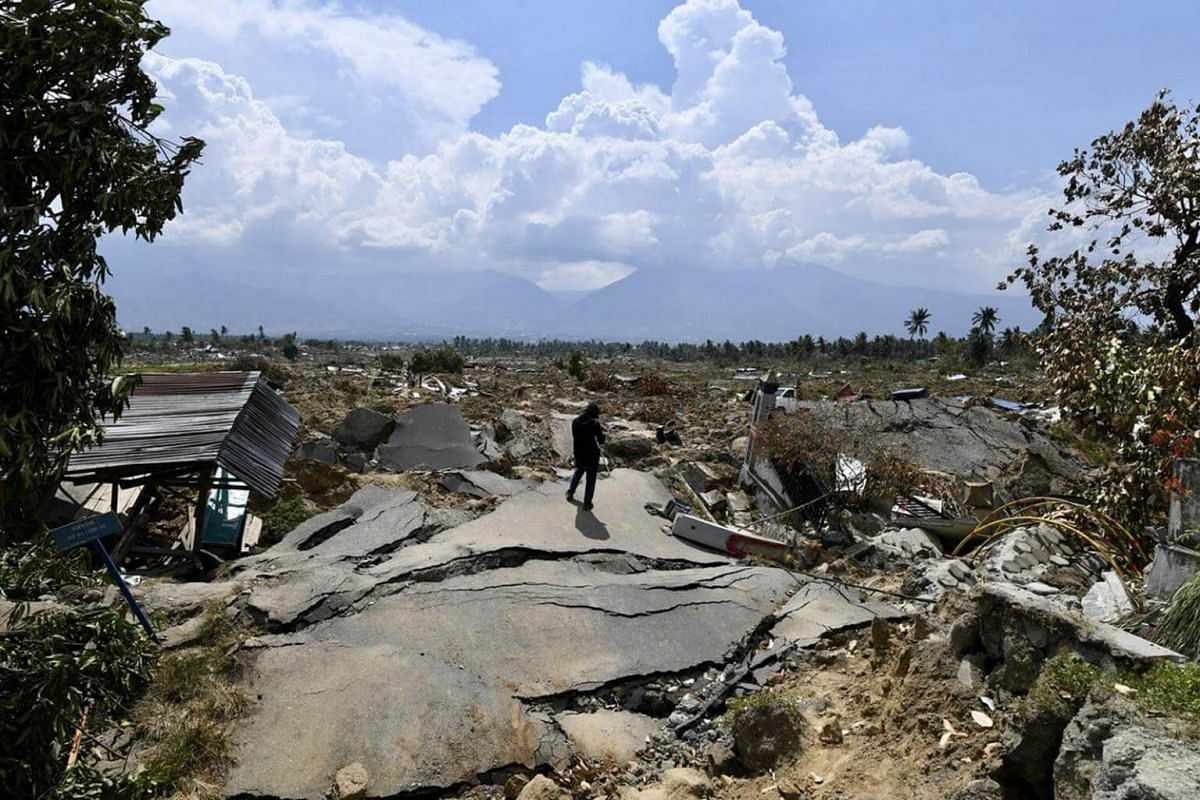 """Petobo, which lies 10km from Palu, Sulawesi, is now known as the """"sunken village"""". The entire village of 700 households was buried underground during the earthquake."""