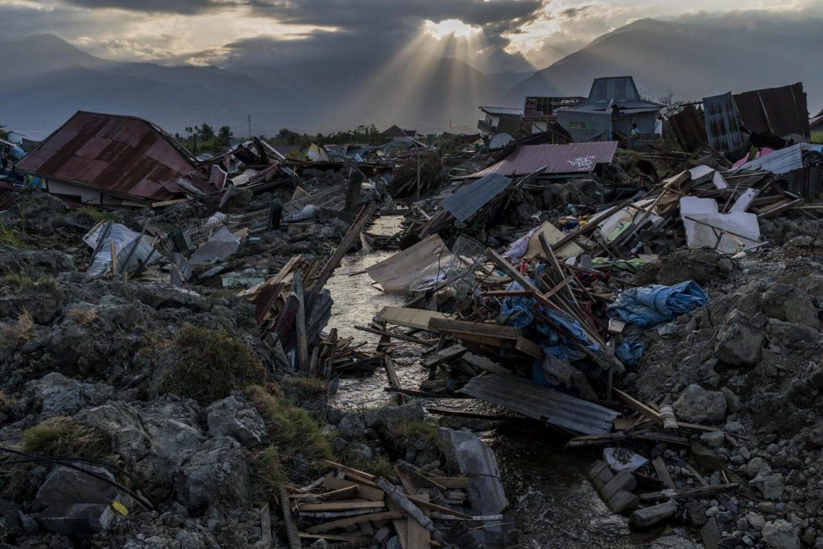 The earthquake-damaged remains of the Petobo neighbourhood in Palu on Oct 4, 2018.