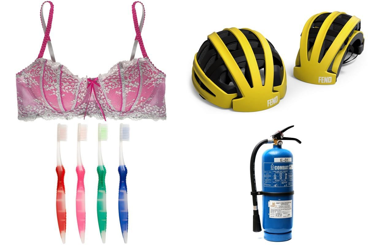 "Even non-food items such as (clockwise, from left) bras, helmets, fire extinguishers and toothbrushes have ""use-by"" dates."
