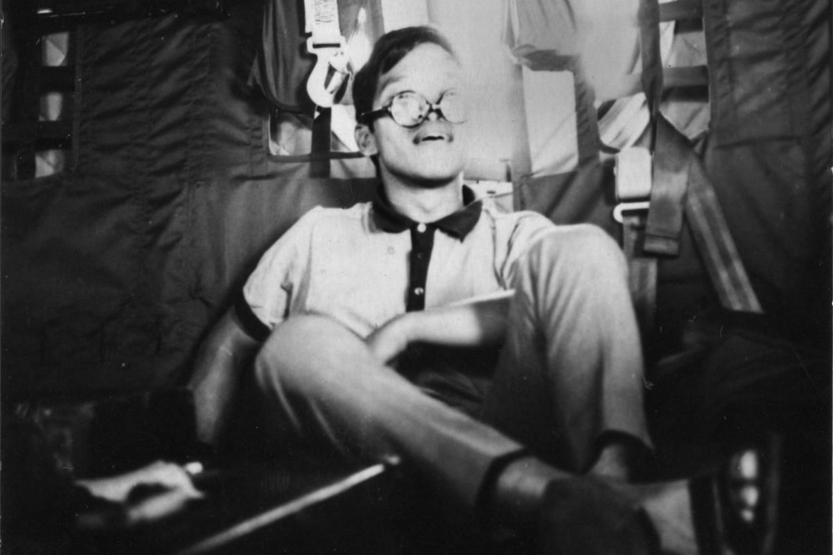 In 1967, Soliano signed up to perform for American troops in Vietnam. This photograph shows him in a Lockheed C-130 Hercules transport.