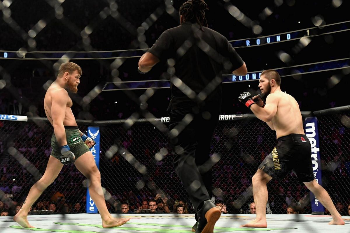 Conor McGregor (left) and Khabib Nurmagomedov staring each other down during the main event of Ultimate Fighting Championship (UFC) 229. The highly anticipated lightweight contest took place in Las Vegas, Nevada on Oct 6, 2018.