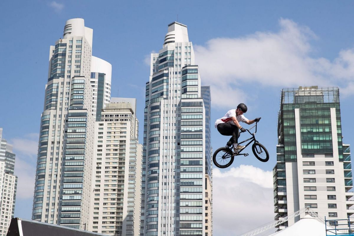 A BMX athlete practises his moves at Urban Park during the Youth Olympic Games in Buenos Aires, Argentina, on Oct 8, 2018.