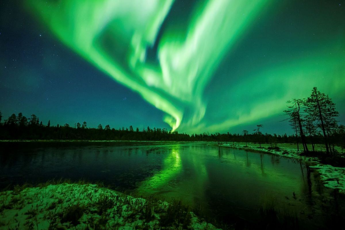 The aurora borealis, or nothern lights, is seen over the sky near Rovaniemi in Lapland, Finland, on Oct 7, 2018.
