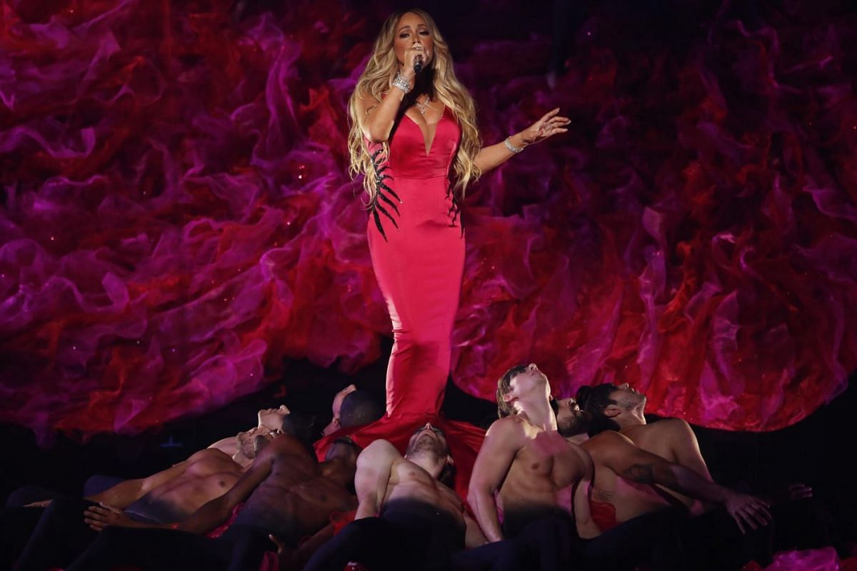 """Mariah Carey performs """"With You""""at the 2018 American Music Awards show in Los Angeles, California, U.S. on Oct 9, 2018. PHOTO: REUTERS"""