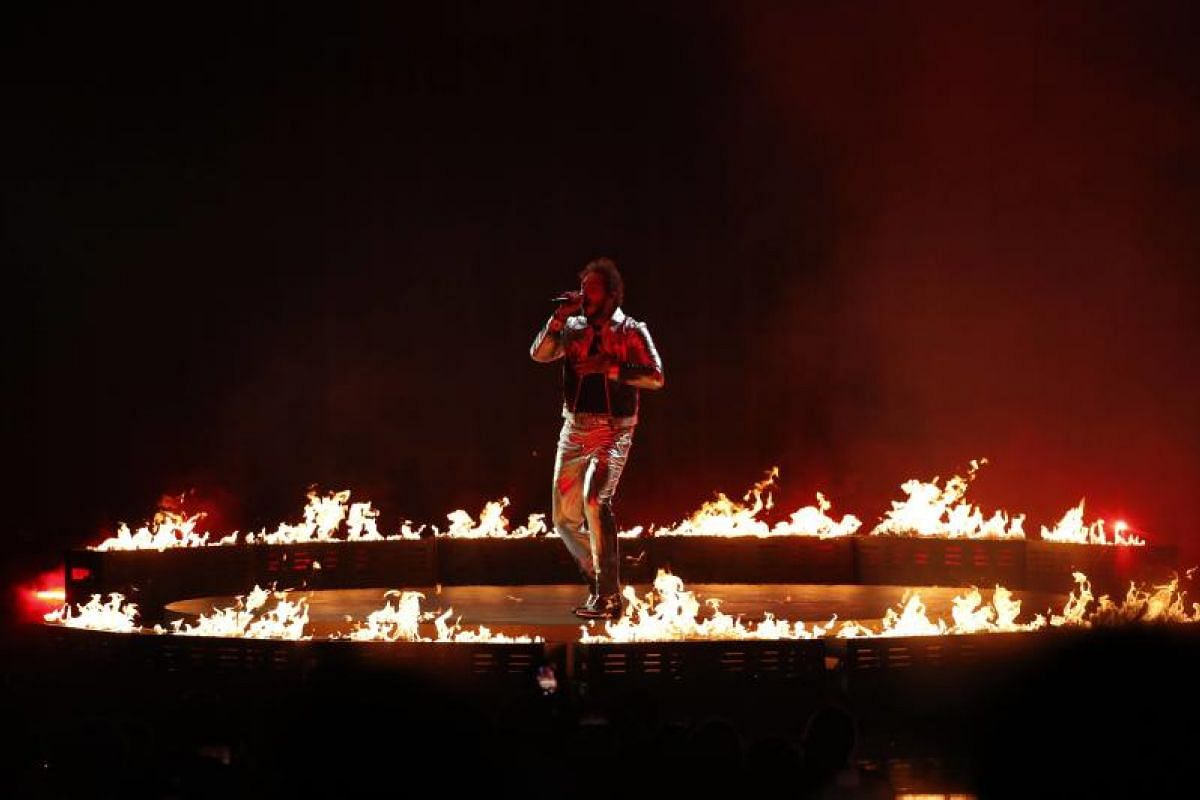 Post Malone performs at the show in Los Angeles, California, US, on Oct 9, 2018.