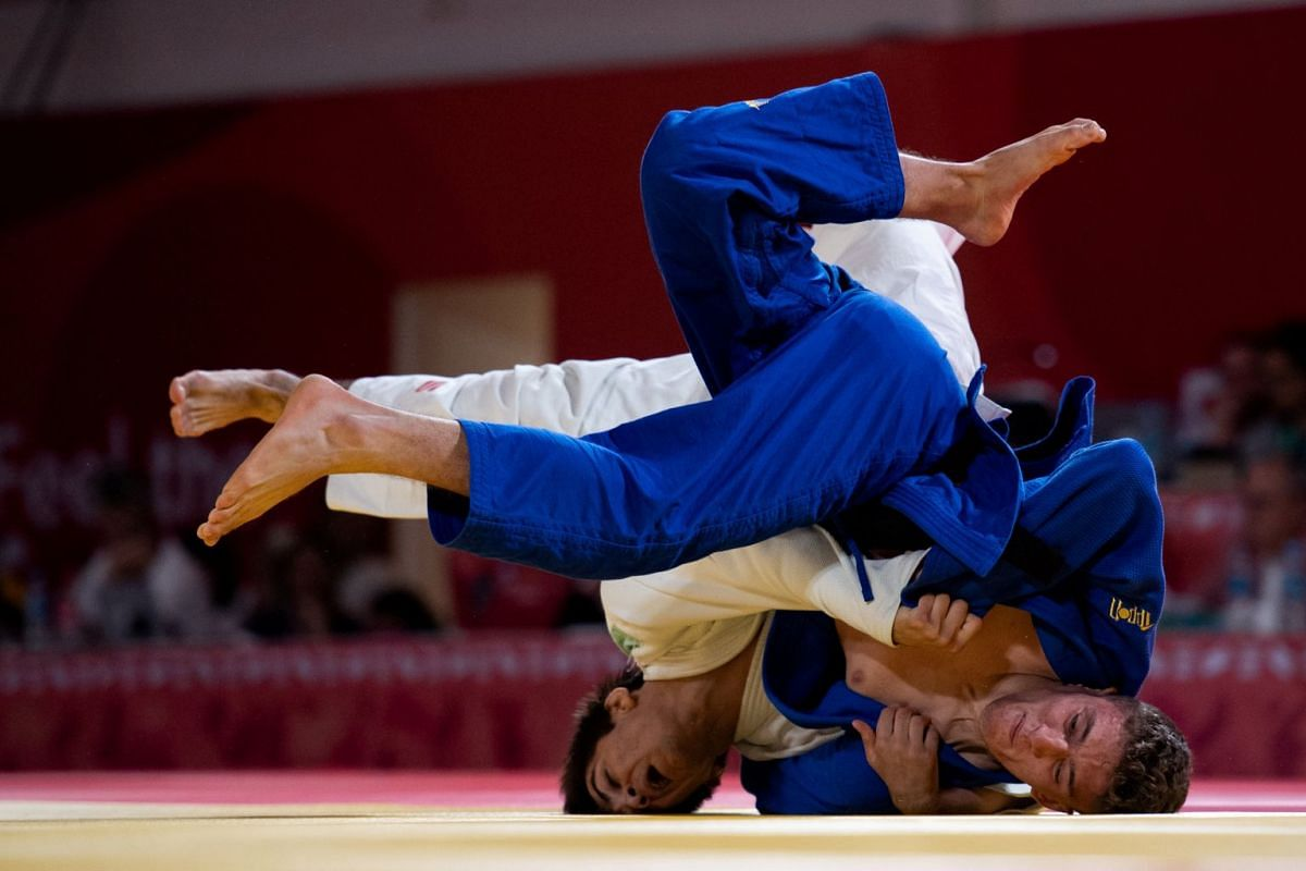 Javier Pena Insausti ESP being thrown by Abrek Naguchev RUS in the Judo Mixed Team Competition at the Asia Pavilion, Youth Olympic Park during the Youth Olympic Games in Buenos Aires, Argentina on 10th October 2018. PHOTO: IOC HANDOUT VIA REUTERS