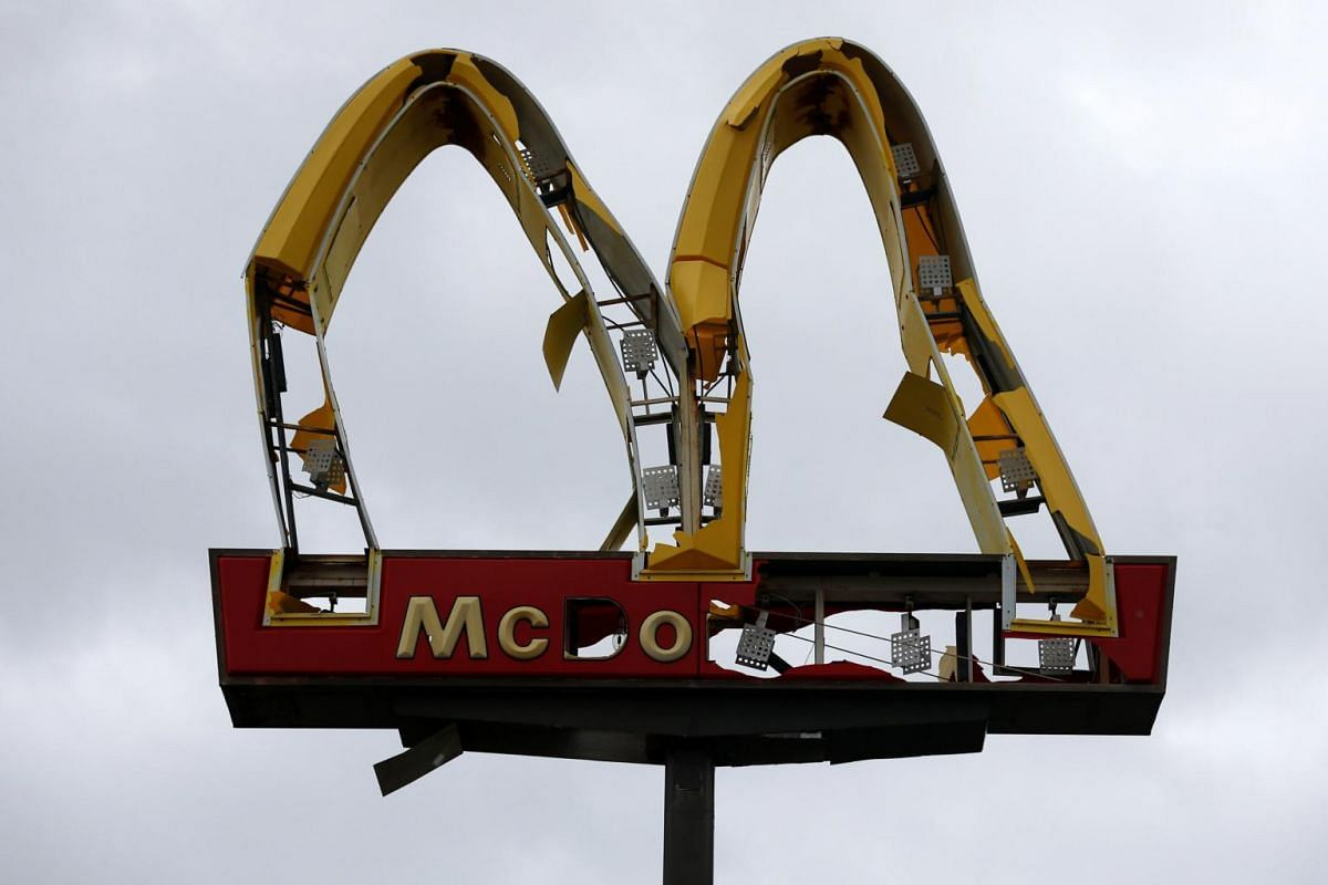 A McDonald's sign damaged by Hurricane Michael in Panama City Beach, Florida, on Oct 10, 2018.