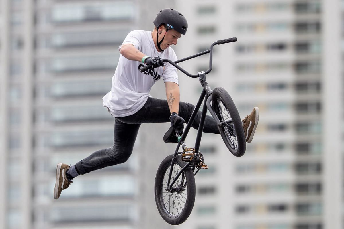 Evan Brandes of Germany competing in the Mixed BMX Freestyle Park Men's Big Final at the Youth Olympic Games in Buenos Aires, Argentina on October 11, 2018. PHOTO: IOC HANDOUT VIA EPA-EFE