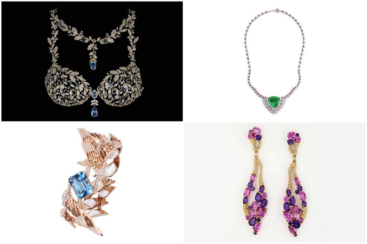 (Clockwise from top left) Mouawad's Champagne Nights Fantasy Bra for Victoria's Secret, Moiseikin's Apple Blossom necklace, Elliott & Carmen's Signature Earrings and Simone Jewels' Signature Paradiso Bangle.