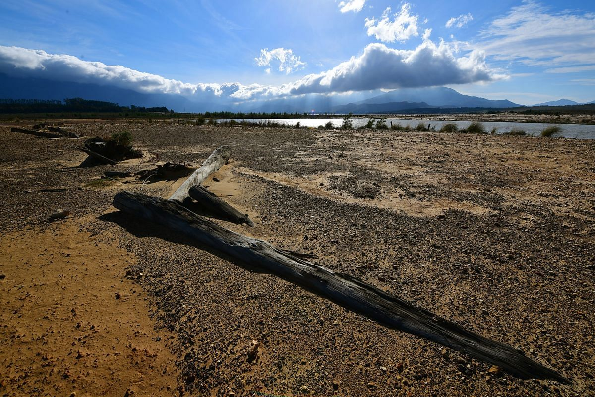 Low water level at Theewaterskloof Dam in South Africa on June 7.