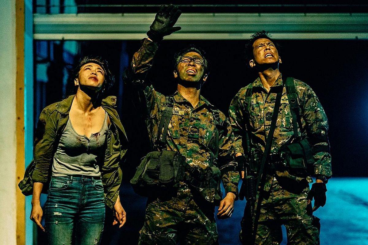 (From left) Joey Pink Lai, Alaric Tay and Benjamin Heng in Zombiepura. Zombiepura actors (from left) Benjamin Heng, Joey Pink Lai and Alaric Tay with director Jacen Tan.