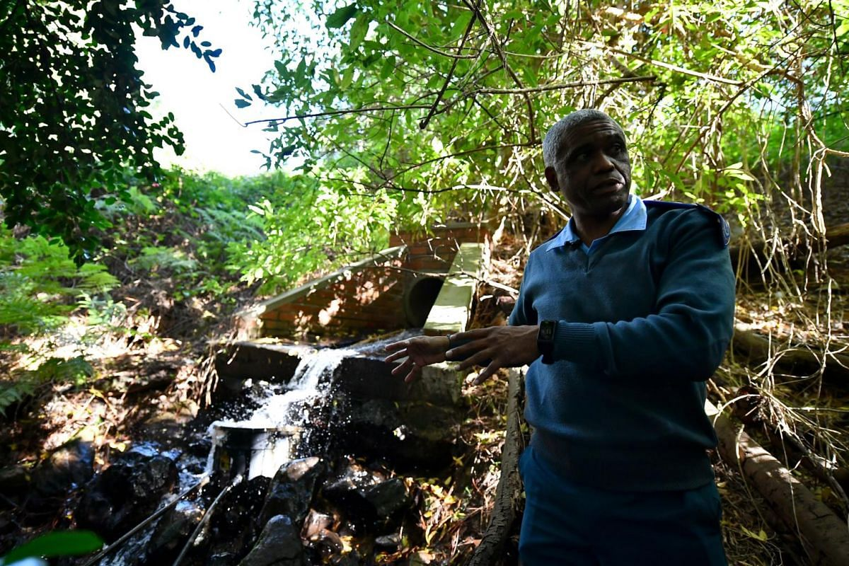 Mr Wayne Dyason, principal inspector for City of Cape Town law enforcement, in front of a possible illegal set-up used by residents at Newlands district to collect water.