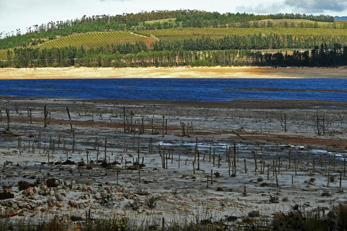 Low water level at Theewaterskloof dam on June 7, 2018.