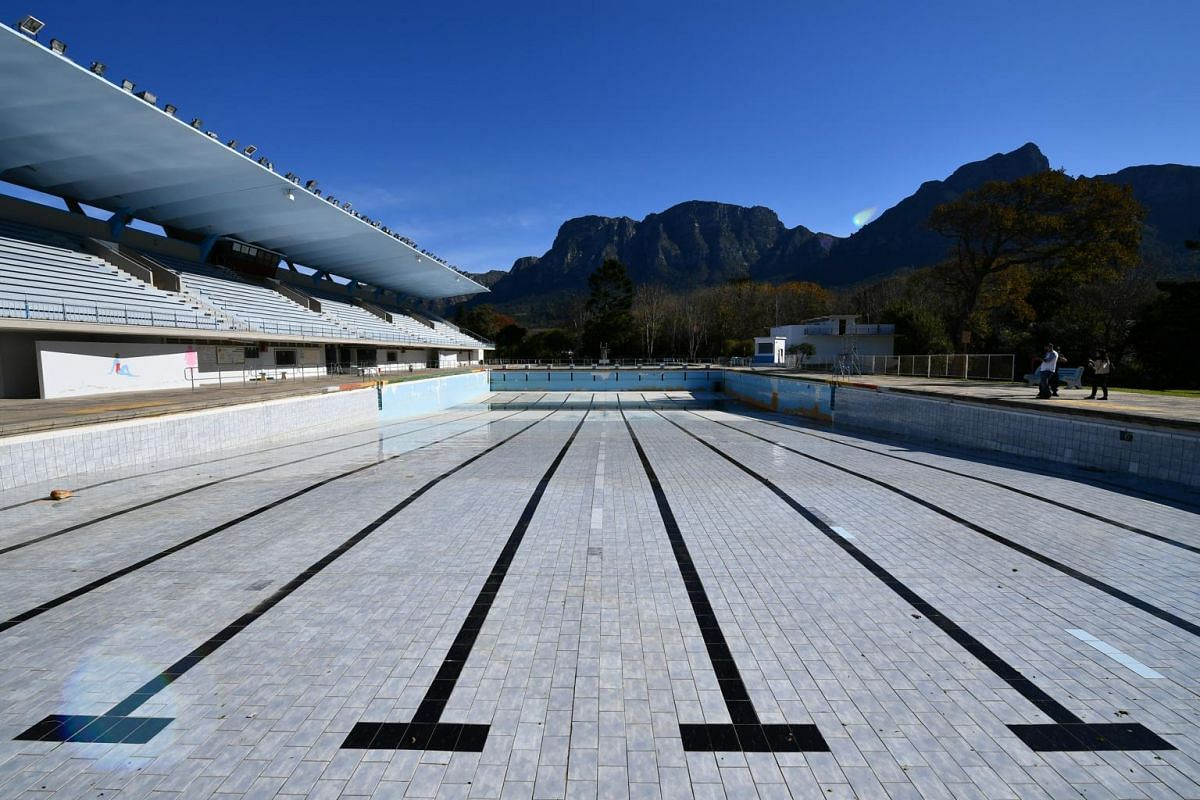 A dry Newlands swimming pool in Cape Town, on June 6, 2018.