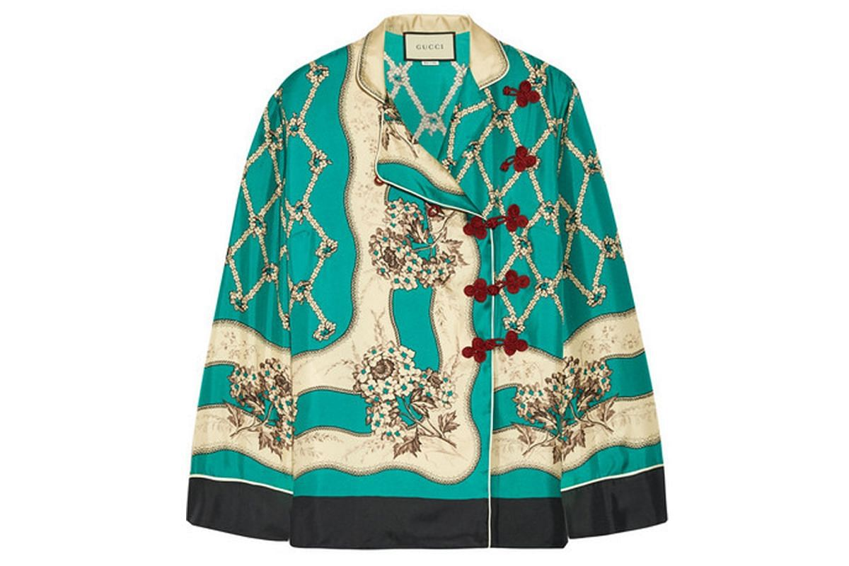 PRINTED SILK-SATIN TWILL BLOUSE From Gucci via Net-a-Porter, US$2,065 (S$2,850)