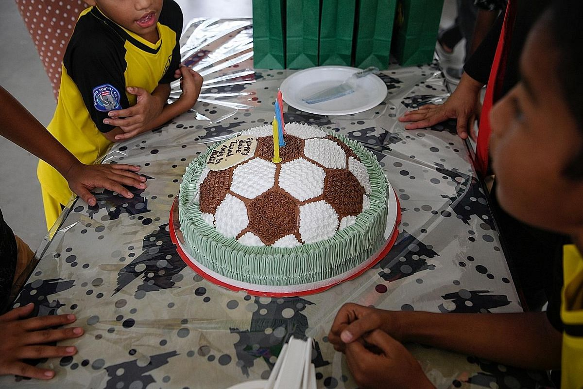 A football-shaped cake at a birthday party this month. Birthday Brigade SG has organised 16 birthday celebrations so far, with themes featuring everything from cats and unicorns to K-pop and football.