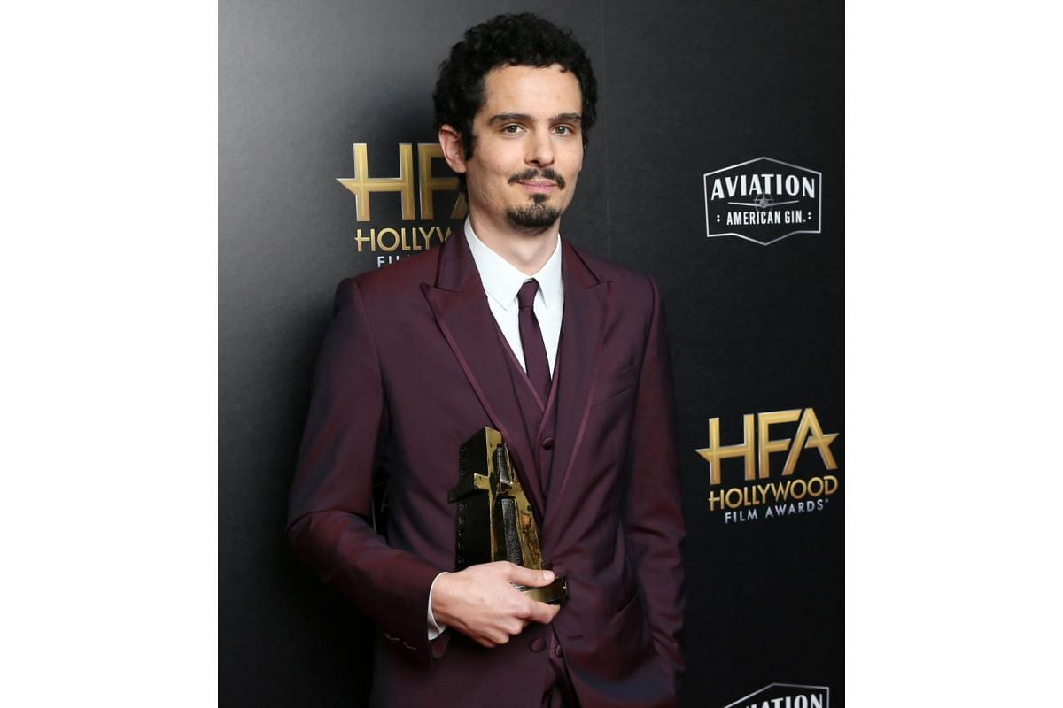 Damien Chazelle with his Hollywood Director Award for movie First Man at the Hollywood Film Awards in Beverly Hills on Nov 4, 2018.