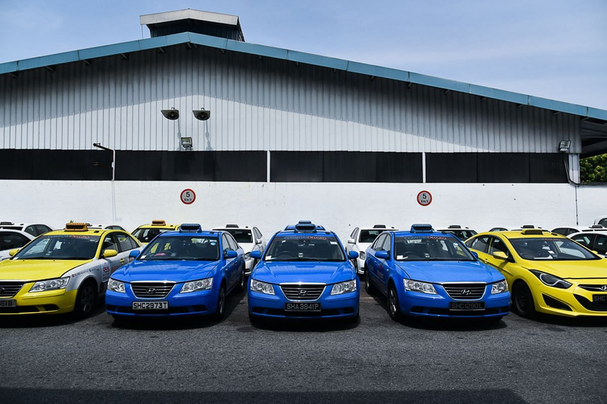Transport operator ComfortDelGro's Hyundai Sonata taxis parked at the company's premises in Sin Ming Drive.