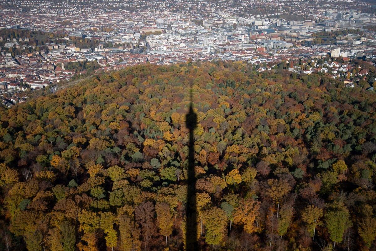 A television tower casting its shadow on an autumnal forest, with the city centre of Stuttgart, Germany, in the background, on Nov 7, 2018.