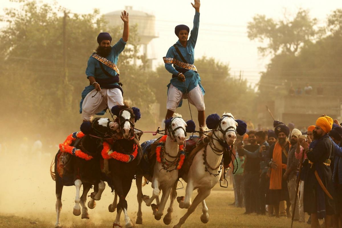 Members of the armed Sikh order of Nihang showing off their riding skills as they try to maintain their balance on four running horses during the Mohalla religious procession on Fateh Divas, or Victory Day, in Amritsar, India, on Nov 8, 2018.