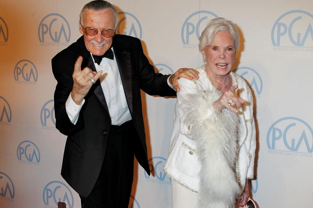 Stan Lee and his wife Joan at the 23rd annual Producers Guild Awards in Beverly Hills, California, on Jan 21, 2012.
