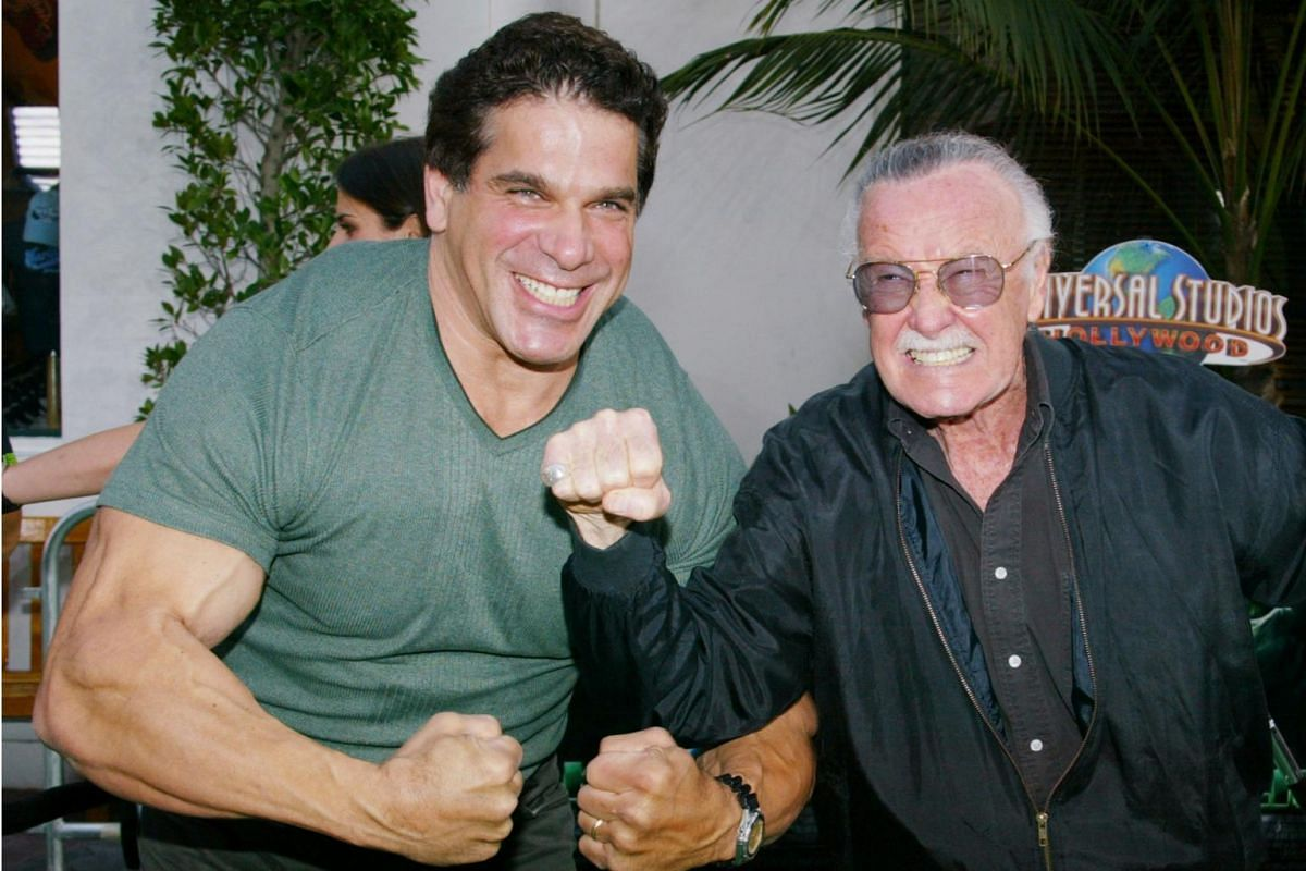 Stan Lee with actor Lou Ferrigno, who portrayed The Hulk on television, at the premiere of The Hulk in Los Angeles on June 17, 2003.