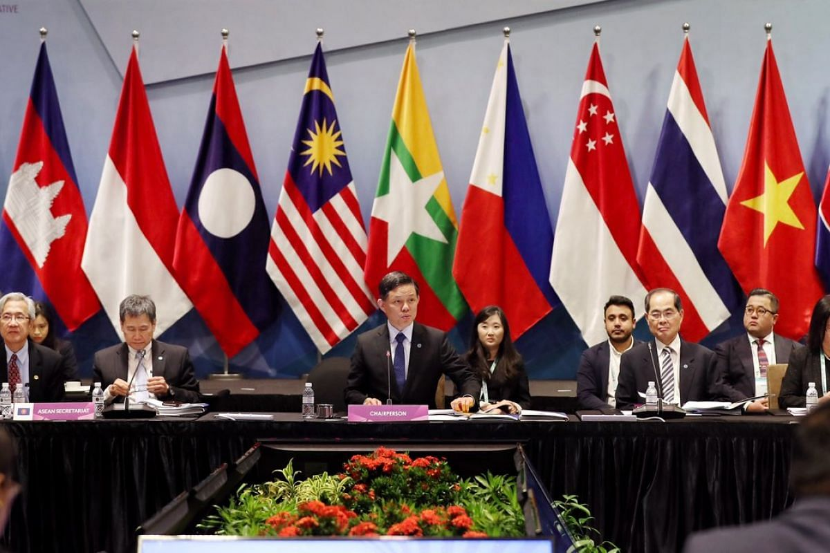 Trade and Industry Minister Chan Chun Sing speaking at the 17th Asean Economic Community Council Meeting on Nov 12, 2018.