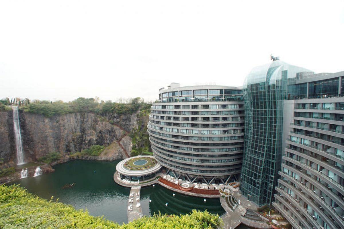 This picture taken on Nov 13, 2018 shows the InterContinental Shanghai Wonderland, built inside a formerly abandoned quarry, about 32 kms (20 miles) southwest of Shanghai. Engineers faced unique challenges and guests will need deep pockets, but the h