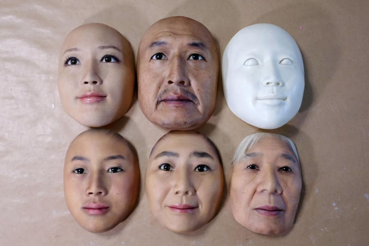 Super-realistic face masks are displayed at the factory of REAL-f Co. in Otsu, western Japan on Nov 15, 2018. PHOTO:REUTERS