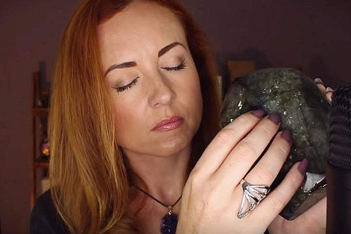 """Singaporean Melinda Lauw (above), who is based in San Francisco, created Whisperlodge (left), a live ASMR experience combining theatre and """"therapy"""". Emma Smith of YouTube Channel WhispersRed ASMR tapping on a large crystal rock. Cardi B Explores ASM"""