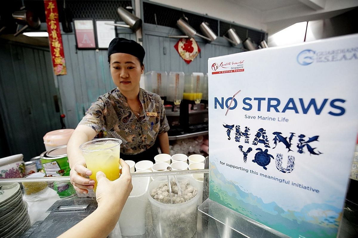 Resorts World Sentosa recently stopped providing single-use plastic straws across its attractions, as well as at its celebrity chef restaurants. A notice on a straw dispenser at the OldTown White Coffee outlet in the departure hall of Changi Airport