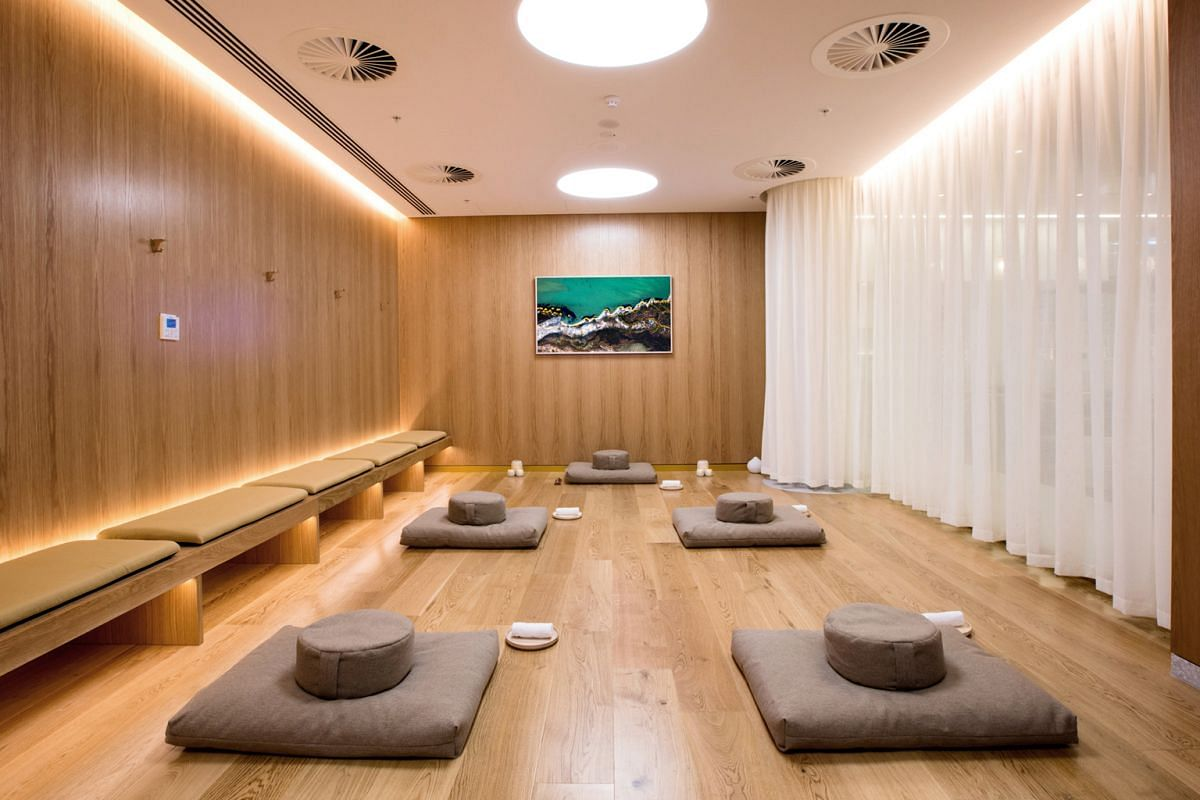 Above: A new lounge at the Perth airport features rooms for breathing and stretching exercises and classes; exercise programmes begin before passengers even get on the plane.