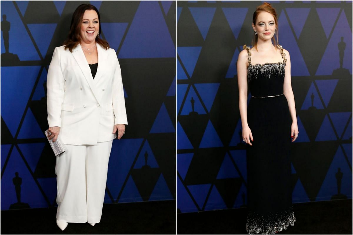 Comedian Melissa McCarthy and actress Emma Stone.
