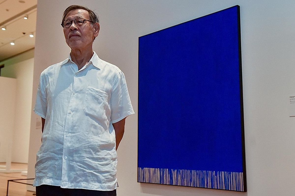 One of Japanese artist Tadaaki Kuwayama's early works, Blue TK684-60 (1960), painted in New York, when he was in his 20s. Room for one colour (above), a 1997 work by Danish-Icelandic artist Olafur Eliasson, is part of the exhibition, Minimalism: Spac