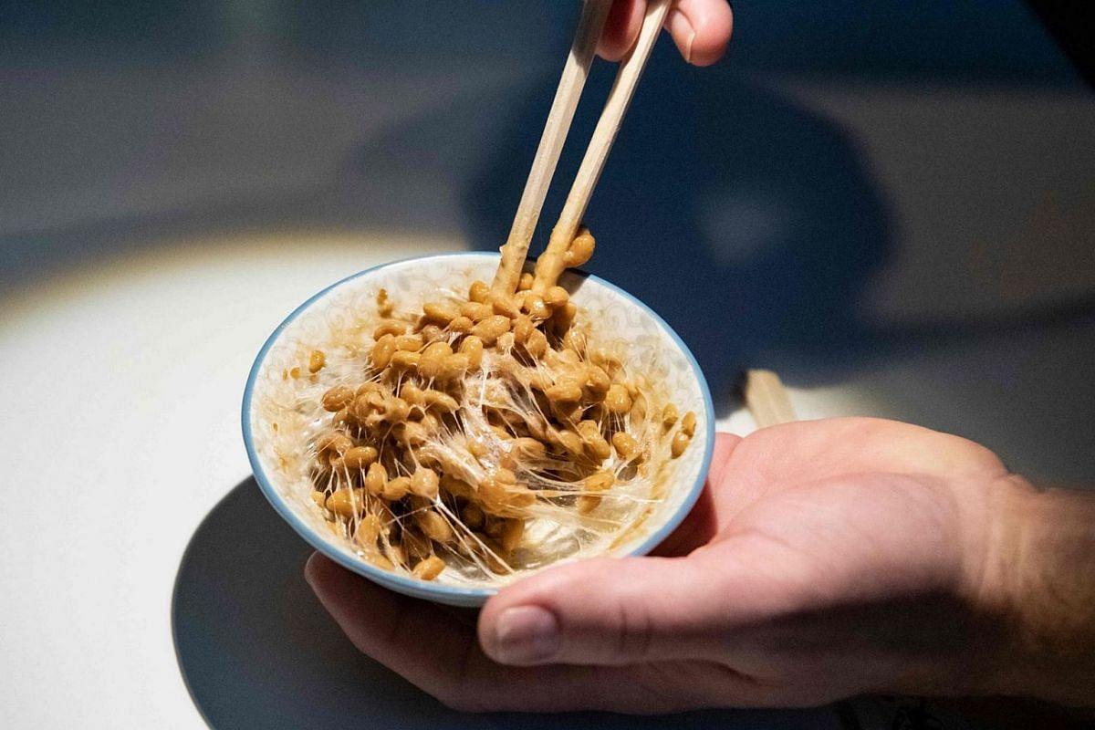 Natto - soya beans fermented with bacterium bacillus subtilis.