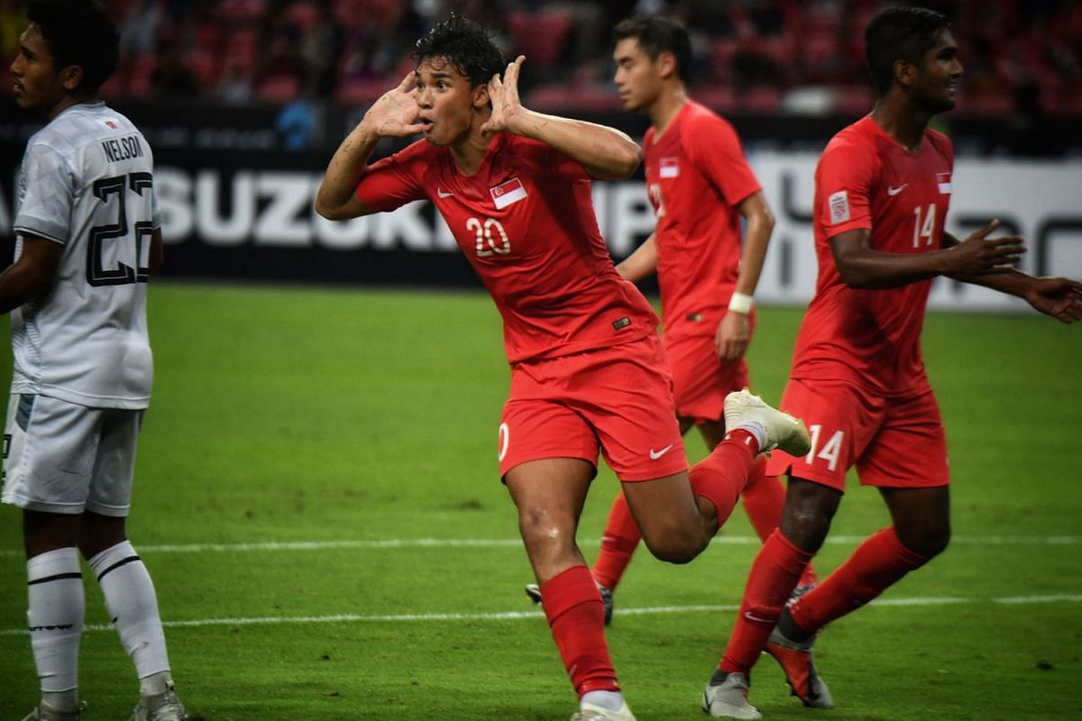 Singapore striker Ikhsan Fandi celebrating after scoring his second goal against Timor-Leste, Nov 21, 2018. The Lions won the Asean Football Federation Suzuki Cup game 6-1 at the National Stadium. PHOTO: THE STRAITS TIMES/ARIFFIN JAMAR