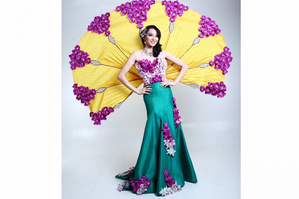 Past Miss Universe Singapore national costumes: The Vanda Miss Joaquim orchid inspired the costume worn by Miss Shi Lim in 2013. It was designed by Riyan Haffys, who studied at LaSalle College of the Arts.
