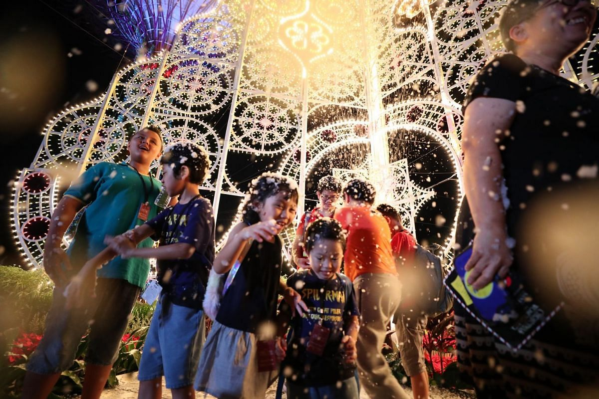 "Visitors can experience the wonders of ""snow"" against a backdrop of luminarie sculptures and Supertrees at various times throughout the day, subject to weather conditions."