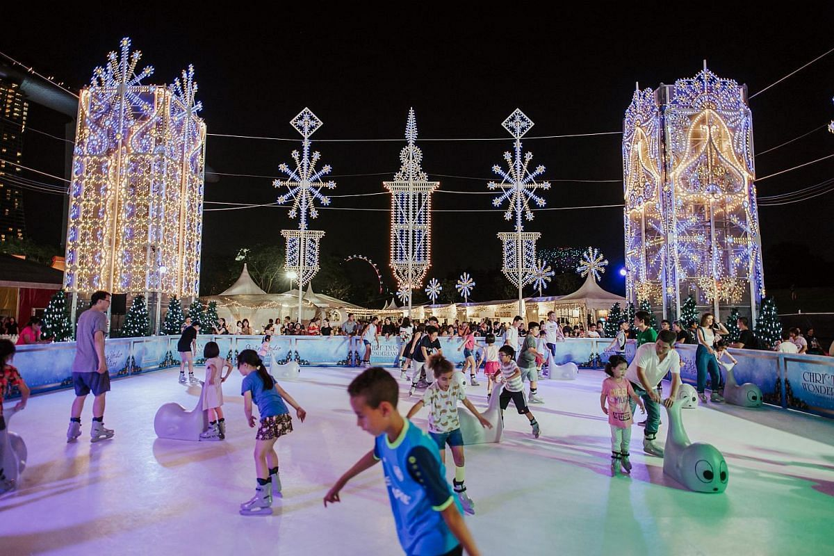 Lace up and hit an outdoor skating rink, flown in from Switzerland. This year's rink is larger than ever, with an 8m-tall Christmas tree nestled in the middle.
