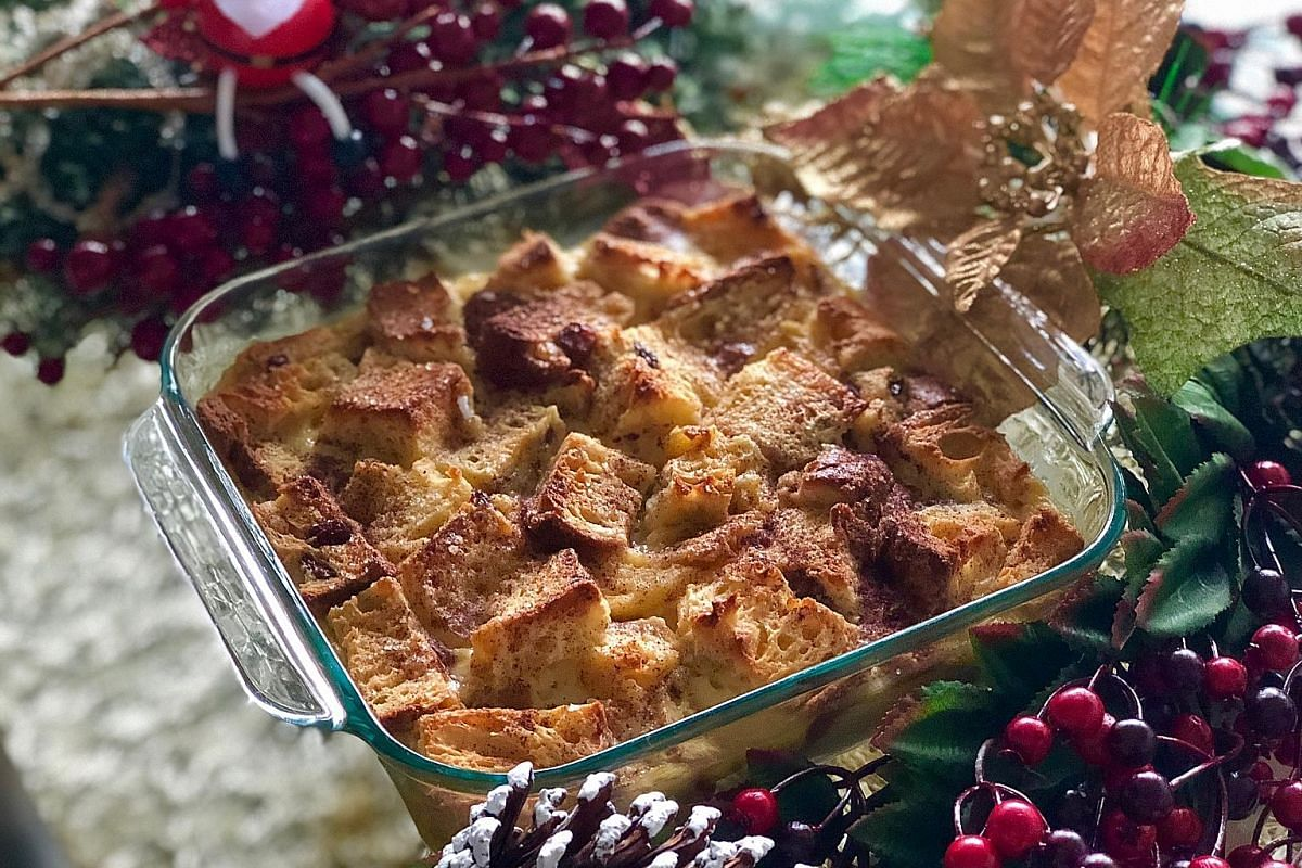 The brandy panettone pudding with cinnamon sugar can be put together in a jiffy.