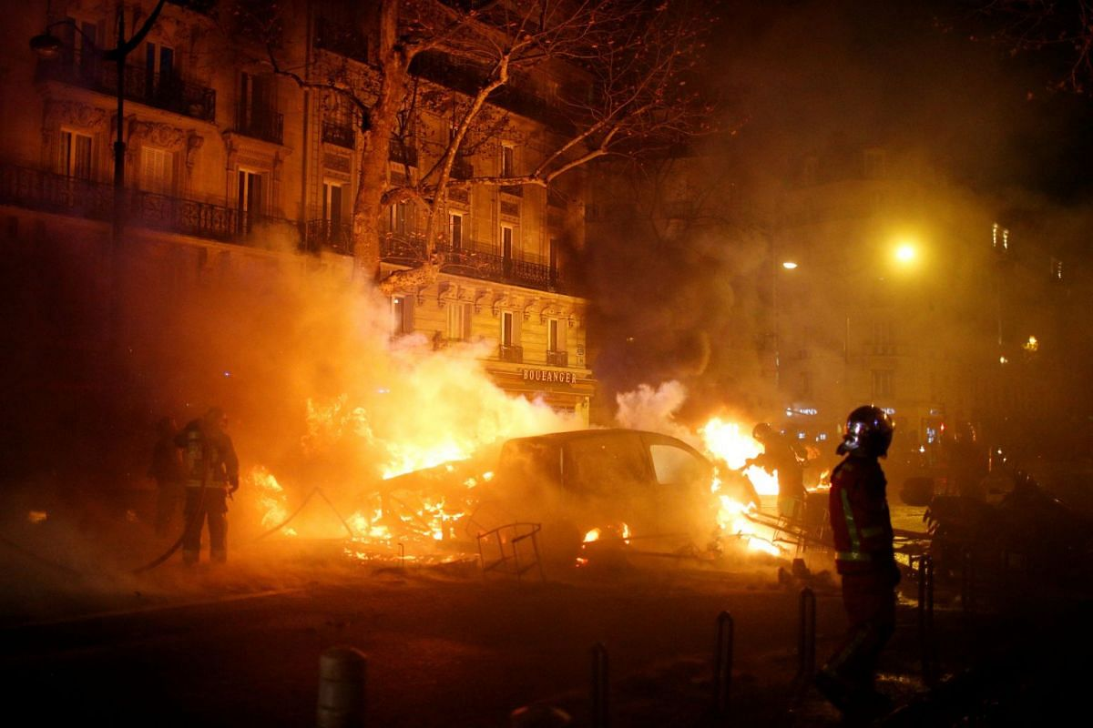 About 5,000 officers have been mobilised and were carrying out identity checks and searches on people hoping to reach the Champs-Elysees.