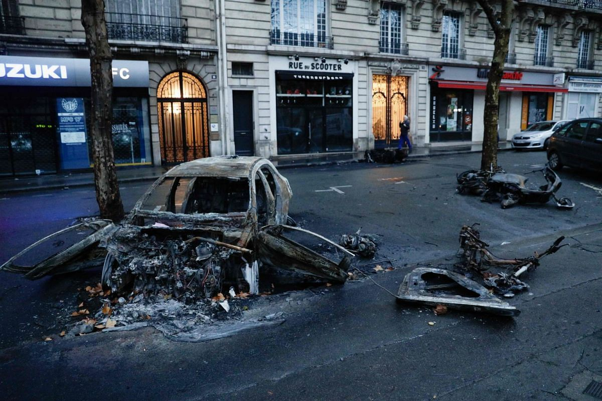 """The protests come a week after violent clashes in the area on Nov 24, 2018, marked by burning barricades and vandalism, which French President Emmanuel Macron compared to """"war scenes""""."""