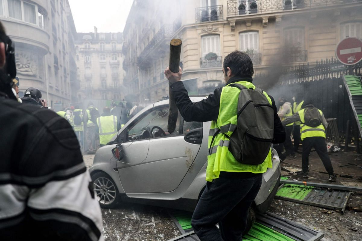Protesters blocked roads across France, impeding access to shopping malls, factories and some fuel depots.