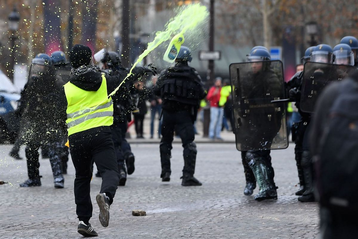 """The """"yellow vest"""" movement erupted on social media in October 2018 and has since become a wider protest against Mr Macron, who is accused of failing to recognise the rising costs of living that have left many struggling."""